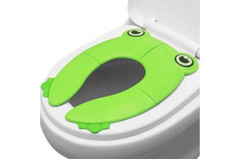 (Green) - PandaEar Toilet Seat Cover | Folding Travel Toilet Seat for Children and Potty Training | Portable Silicone Toilet Seat for Toddlers, Boys & Girls with Non-Slip Silicone Pads | Recyclable Toilet Seat