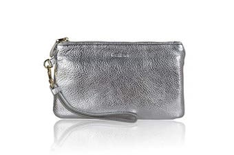 (Sliver Wristlet) - Wristlet,100% Genuine Leather Clutch Bags for Women,Befen Ladies Wristlet Purse With Detachable Wrist Strap & Zip Closure For Evening,Wedding,Travelling, Fit iPhone 8 Plus or Phone Less Than 17cm