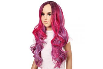 (Dark Root Rose) - ColorGround Kids Size Rose Red Curly Cosplay Wig for Halloween Costumes and Party (Dark Root Rose)