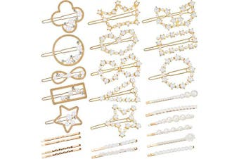 (Style Set 2) - 41 Pieces Hair Clips Artificial Pearl Hair Pins Pearl Rhinestone Bobby Pins Golden Hair Barrettes for Girls, Women (Style Set 2)