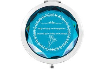 (Joy and happiness around you, Blue) - Compact Makeup Mirror for Handbag,Portable Pocket Travel Mirror,Birthday Valentines Anniversary Christmas Mothers Day Women Gifts for Her,Women,Girlfriend,Best Friends