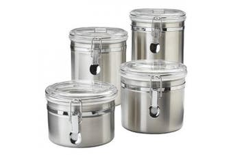 Oggi 4 Piece Stainless Steel Canister Set with Airtight Acrylic Lid and Clamp