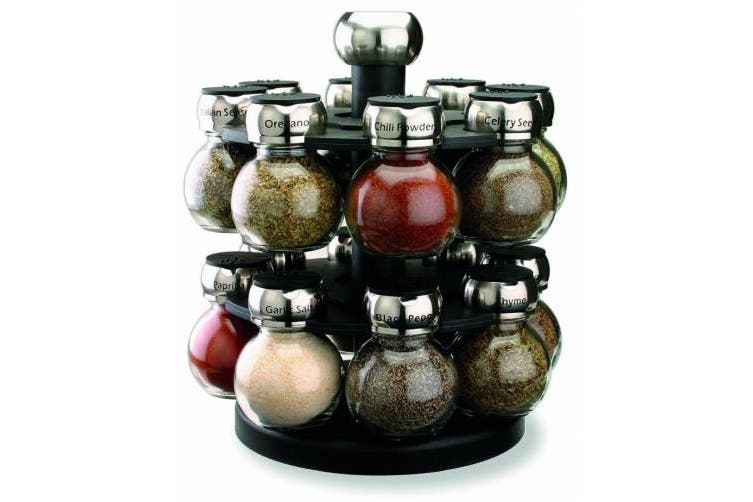 (One Size) - Olde Thompson 16-Jar Labelled Orbit Spice Rack Jars & Rack