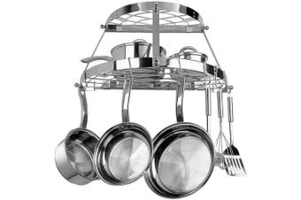 (24.0 x 11.0 x 12.0, Stainless Steel) - TWO SHELF WALL - MOUNT POT RACK - STAINLESS STEEL - CW6004R