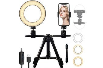 "6"" LED Ring Light with 17-52cm Tripod Stand for Live Stream/Photography/Facetime, Tencro Mini Desktop LED Lighting [3-Mode, 10-Level Brightness] Phone Holder, 1/4"" Threaded Camera & Webcam Stand"