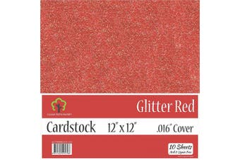 (30cm  x 30cm  - 10 Sheets) - Glitter Red Cardstock - 30cm x 30cm - .41cm Thick - 10 Sheets