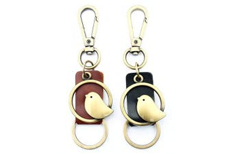 (Black) - AuPra Little Bird KeyRing Black Leather Women & Men Home Car Strong KeyChain Mum & Dad Teacher Handbag Charm Key Ring Girl & Boy Pendant Present