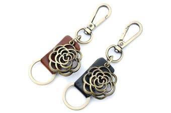 (Black) - AuPra Rose Strong Black Leather Women KeyRing Gift Girlfriend Best Friend Home Flower KeyChain Mum Sister Teacher Handbag Charm Key Ring Lady Nanny Car Pendant