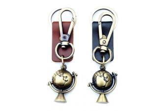 (Brown) - AuPra World Leather Brown KeyRing Gift Women & Men Save Planet Best Friend Home Globe KeyChain Mum & Dad Teacher Handbag Charm Key Ring Girl & Boy Car Pendant