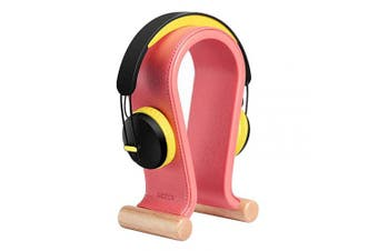(Peony Pink) - SAMDI Leather Headphone Stand Headset Stand Headphone Holder Universal Gaming Headset Holder - Peony Pink