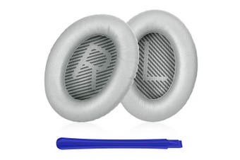 (Silver) - TesRank Replacement Ear Pads Ear Cushion Kit for Bose QuietComfort QC 2 15 25 35 AE2 AE2i AE2w SoundTrue SoundLink Headphones, Silver