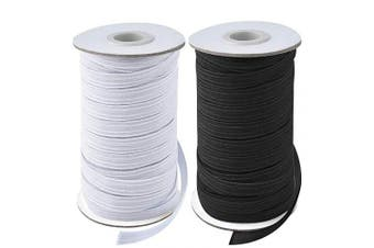 (1.3cm , Black and White) - Coopay 40 Yards Length 1.3cm Width Elastic Cord Elastic Bands Elastic Rope Heavy Stretch Elastic Spool Knit for Sewing, 2 Rolls, 20 Yards/Roll (Black and White, 1.3cm )