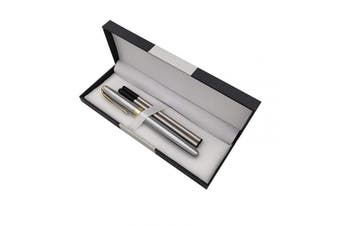 (Silver) - Accod Metal Ballpoint Pen Roller Ballpen Office Signature Pen High-end Gift Box with Two Replaceable Black Refills(0.5mm) Perfect Gift for Friends Classmates Family and Colleagues (Silver)