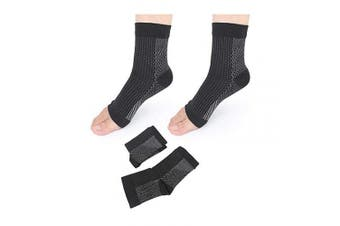 (Black, Small/Medium) - Afocuz 1 Pair Heel Arch & Ankle Supports Plantar Fasciitis Foot Compression Sock Sleeves for Men and Women - Relieves Pain (Black, Small/Medium)