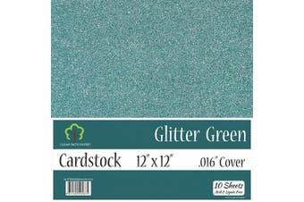 (30cm  x 30cm  - 10 Sheets, Green) - Glitter Green Cardstock - 30cm x 30cm - .41cm Thick - 10 Sheets