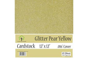 (30cm  x 30cm  - 10 Sheets, Pear Yellow) - Glitter Pear Yellow Cardstock - 30cm x 30cm - .41cm Thick - 10 Sheets
