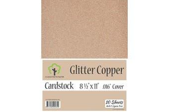 (22cm  x 28cm  - 10 Sheets) - Glitter Copper Cardstock - 22cm x 28cm - .41cm Thick - 10 Sheets
