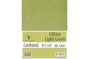 (22cm  x 28cm  - 10 Sheets) - Glitter Light Green Cardstock - 22cm x 28cm - .41cm Thick - 10 Sheets