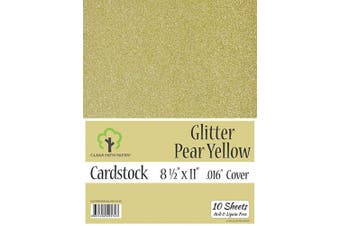 (22cm  x 28cm  - 10 Sheets, Pear Yellow) - Glitter Pear Yellow Cardstock - 22cm x 28cm - .41cm Thick - 10 Sheets