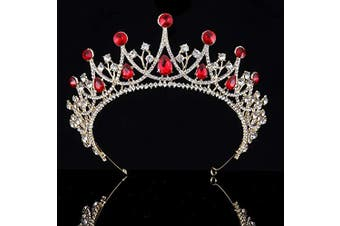 (Gold and Red) - Coucoland Vintage Crystal Rhinestone Bridal Wedding Queen Crown Tiara (Gold and Red)