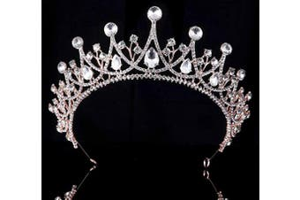 (Rose Gold and White) - Coucoland Vintage Crystal Rhinestone Bridal Wedding Queen Crown Tiara (Rose Gold and White)