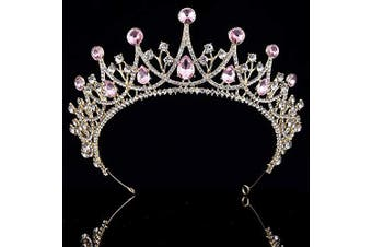 (Gold and Pink) - Coucoland Vintage Crystal Rhinestone Bridal Wedding Queen Crown Tiara (Gold and Pink)