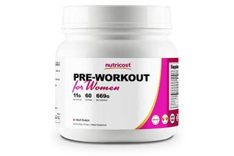 (60 Serv, Fruit Punch) - Nutricost Pre-Workout Powder for Women Fruit Punch (60 Serv)