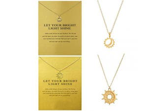 2pcs Sun with Moon Clavicle Necklace with Blessing Message Card, Gold Dainty Good Luck Galaxy Pendant Chain Costume Jewellery Favours