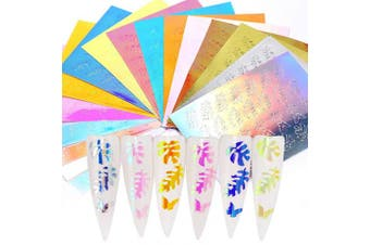 (Leaf Butterfly) - DAGEDA 16 Pcs Holographic Fire Flame Nail Stickers, Nail Reflections Tape Adhesive Foils DIY Decoration Nail Decals Decoration, Nail Art Stickers(Leaf Butterfly)