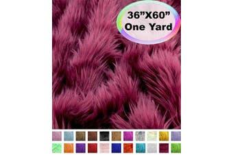 (One Yard, Burgundy) - Barcelonetta | One Yard Faux Fur | 90cm X 150cm Inch | Craft Supply, Costume, Decoration (Burgundy)