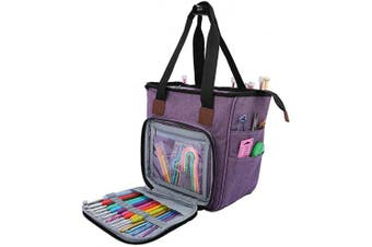 (Purple) - Katech Yarn Storage Bag Large Capacity Portable Knitting Tote Bag Empty Crochet Organiser Basket Bags for Carrying Yarn Balls, Crochet Hooks, Knitting Needles, Crochet and Sewing Accessories (Purple)