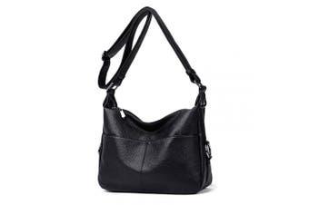 (Black2) - Women's Shoulder Bag Soft Leather Casual Daypack Crossbody Handbags for Ladies (Black2)