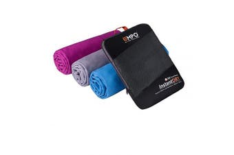 (Grey, 140cm x 80cm) - EMPO Microfibre Travel Towel with zip carry bag Large, [140cm x 80cm], Super Absorbent Quick Dry, Compact & Lightweight