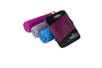(Violet, 140cm x 80cm) - EMPO Microfibre Travel Towel with zip carry bag Large, [140cm x 80cm], Super Absorbent Quick Dry, Compact & Lightweight