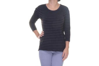 Style & Co Women's 3/4 Sleeve Striped Print Deep Black Top Size XS