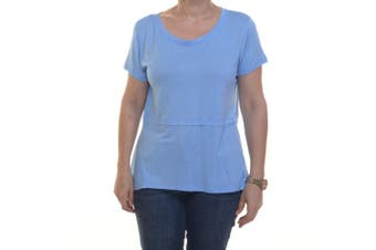 Style & Co Women's Short Sleeve Passion Blue Tee Size XS