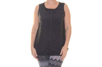 Style & Co Women's Faux Suede Sleeveless Deep Black Top Size S