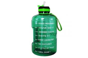 ( 3.8l, Light Green) - BuildLife Gallon Motivational Water Bottle Wide Mouth with Straw & Time Marked to Drink More Daily,BPA Free Reusable Gym Sports Outdoor Large(3790ml2160ml1270ml) Capacity