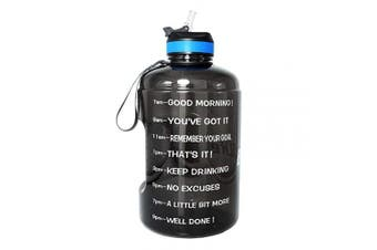 (2160ml, Black) - BuildLife Gallon Motivational Water Bottle Wide Mouth with Straw & Time Marked to Drink More Daily,BPA Free Reusable Gym Sports Outdoor Large(3790ml2160ml1270ml) Capacity