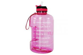(2160ml, Light Pink) - BuildLife Gallon Motivational Water Bottle Wide Mouth with Straw & Time Marked to Drink More Daily,BPA Free Reusable Gym Sports Outdoor Large(3790ml2160ml1270ml) Capacity