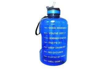 (2160ml, Blue) - BuildLife Gallon Motivational Water Bottle Wide Mouth with Straw & Time Marked to Drink More Daily,BPA Free Reusable Gym Sports Outdoor Large(3790ml2160ml1270ml) Capacity