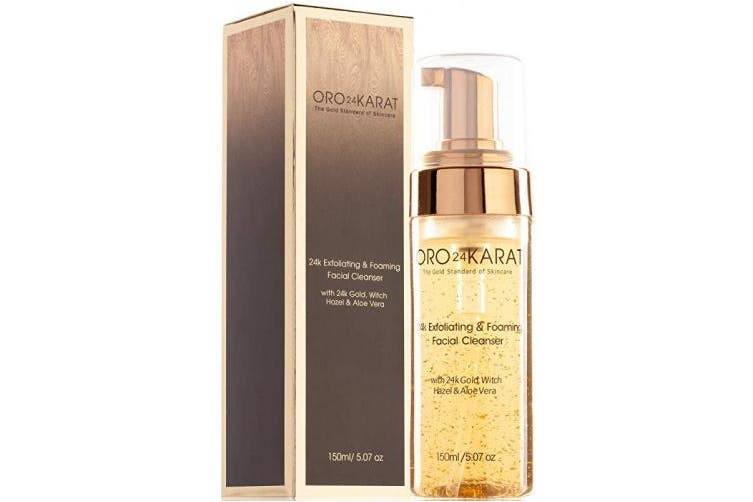 ORO24KARAT Exfoliating & Foaming Facial Cleanser with 24k Gold, Witch Hazel, and Aloe Vera