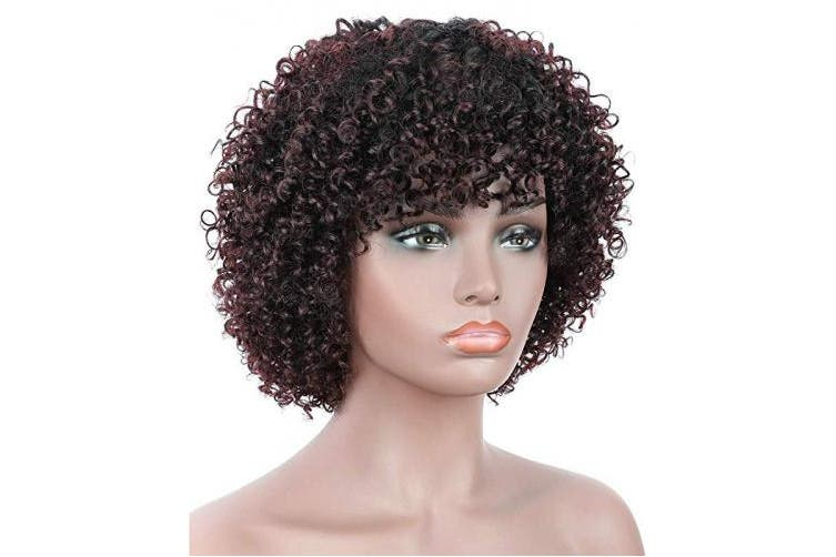 """(OT99J) - Beauart 11"""" 100% Brazilian Remy Human Hair Afro Kinky Curly Wigs for Black Women Dark Roots Ombre Black Cherry Natural Kinky Curls Wig with Hair Bangs"""