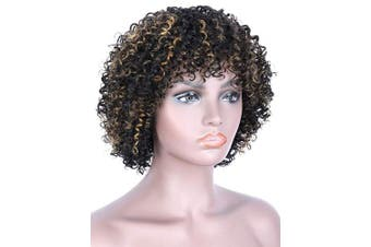 """(#1B/30) - Beauart 11"""" 100% Brazilian Remy Human Hair Afro Kinky Curly Wigs for Black Women Black Brown Highlights Natural Kinky Curls Wig with Hair Bangs"""