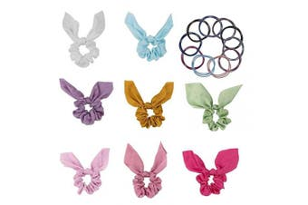 (8 bow scrunchies +10 hair ties) - Light Colour Scrunchies Set with Bow, Pink Red White Scrunchies for Girls Women (Come with 10 Pcs Hair Ties Rope)