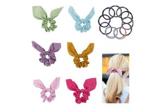 (6 bow scrunchies +10 hair ties) - Bow Scrunchies For Hair, 6 Pcs Satin Scrunchies Silk with Bow Scarf, Solid Colour Bow Scrunchies (Come with 10 Pcs Hair Ties Rope)