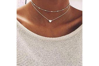(Silver) - Anglacesmade Bohemia Layered Choker Necklace Heart Necklace Disc Choker Silver Heart Disc Pendant Necklace Multilayer Station Chain for Women and Girls(Silver)