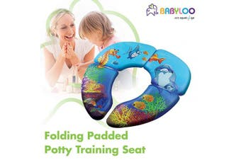 (Ocean) - Babyloo Foldable Cushioned Potty Training Seat with Travel Bag (Ocean)