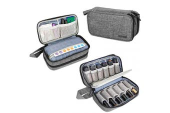 (Double-layer Bag, Gray) - Luxja Essential Oil Carrying Case - Holds 12 Bottles (5ml-15ml, Also Fits for Roller Bottles), Portable Double-Layer Organiser for Essential Oil and Accessories, Grey