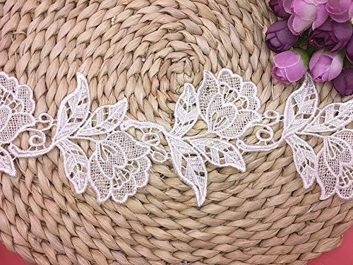 White 8.5CM Width Europe a Rose pattern Inelastic Embroidery Lace Trim,Curtain Tablecloth Slipcover Bridal DIY Clothing//Accessories. 2 yards in one package